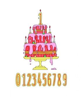 Illustratie van een feestelijke roze slagroomtaart