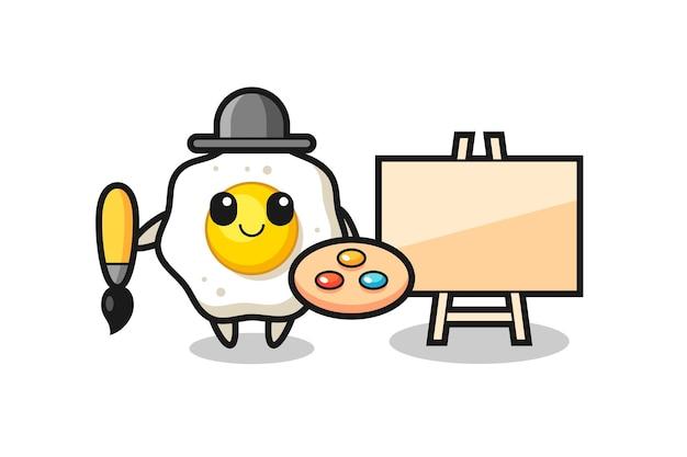Illustratie van een gebakken ei-mascotte als schilder, schattig stijlontwerp voor t-shirt, sticker, logo-element