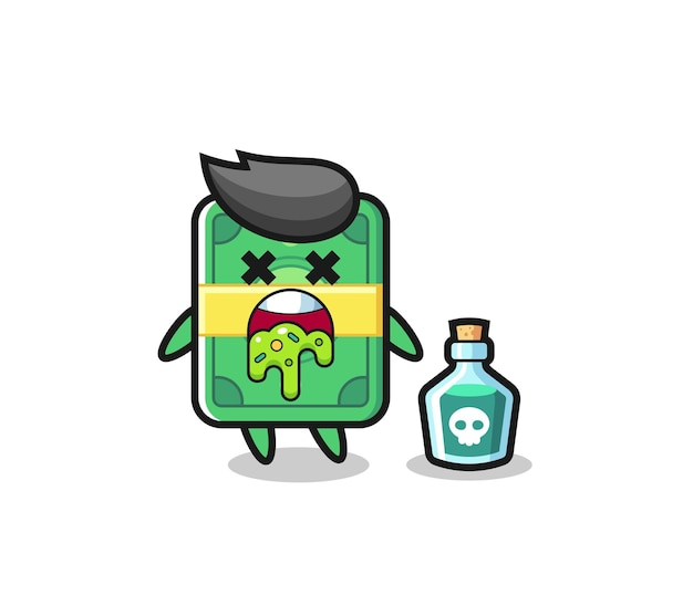 Illustratie van een geldkarakter dat braakt als gevolg van vergiftiging, schattig stijlontwerp voor t-shirt, sticker, logo-element