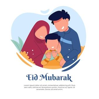 Illustratie van een gelukkig gezin tijdens eid