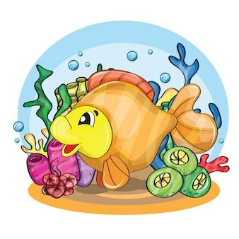 Illustratie van een gelukkig stripfiguur van een goudvis