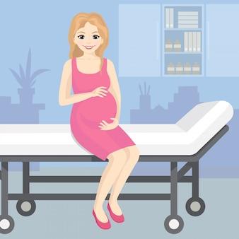 Illustratie van een gelukkig zwangere vrouw zittend op een ziekenhuis trolley. lachende zwangere jonge mooie vrouw in vlakke stijl.