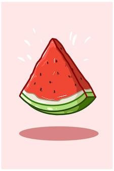 Illustratie van een gesneden watermeloen