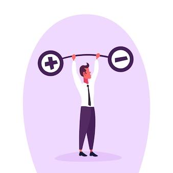 Illustratie van een gewichtensaldo van de zakenmanholding