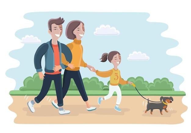 Illustratie van een gezin dat met hun hond speelt