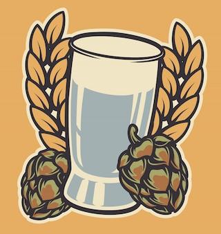 Illustratie van een glas met oren op een lichte achtergrond.