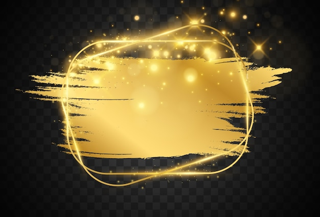 Illustratie van een gouden frame met een penseelstreek.