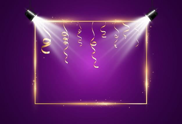 Illustratie van een gouden frame op een transparante achtergrond.