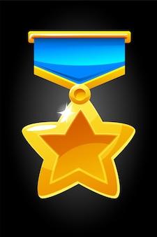 Illustratie van een gouden medaille-pictogram voor het spel. stervorm medaille sjabloon voor toekenning.