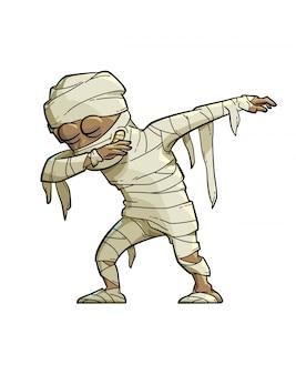 Illustratie van een grappige mummie die de scharbeweging doet.