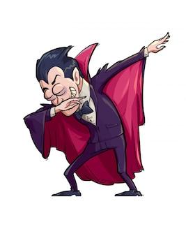 Illustratie van een grappige vampier die de scharbeweging doet.