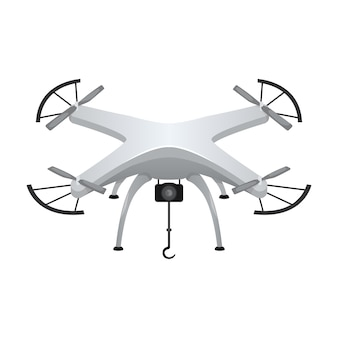 Illustratie van een grijze quadcopter met een kleine camera. moderne gadget.