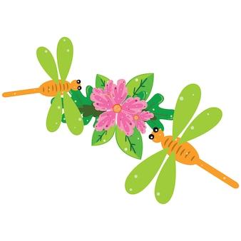 Illustratie van een groene dragonfly zat op bloemen en bladeren
