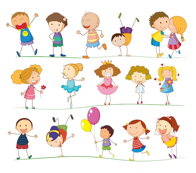 Illustratie van een groep gemengde kinderen
