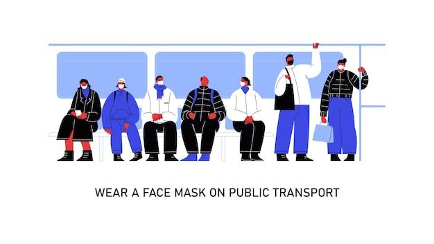 Illustratie van een groep mensen in het openbaar vervoer, zes personages dragen maskers en één persoon niet.