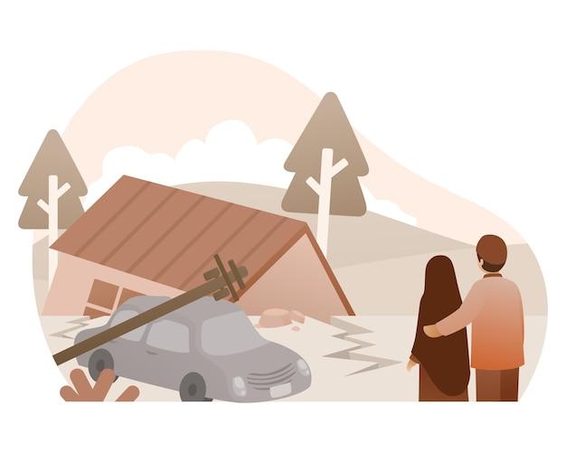 Illustratie van een grote aardbeving die een huis vernietigt