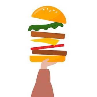 Illustratie van een hand die een cheeseburger houdt