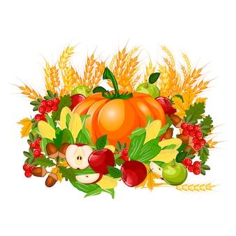 Illustratie van een happy thanksgiving celebration design.