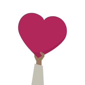 Illustratie van een hart van de handholding