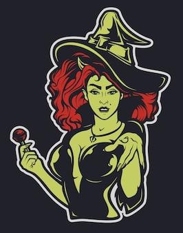 Illustratie van een heks voor halloween op een donkere achtergrond. alle lagen zijn ondertekend.