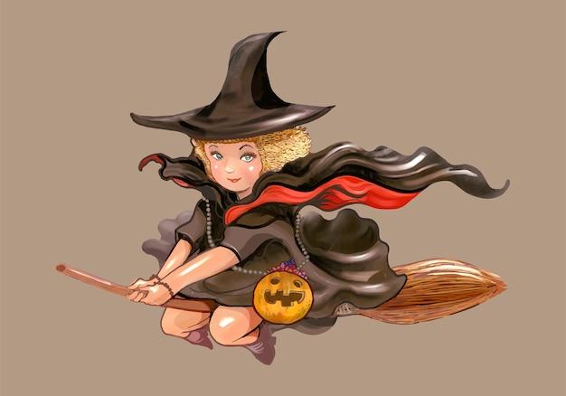 Illustratie van een heksenpictogram voor halloween
