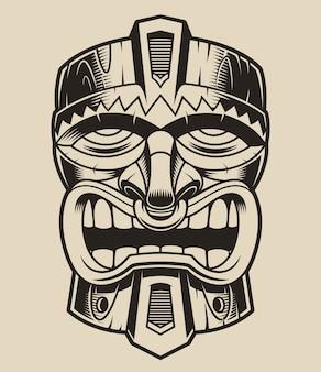 Illustratie van een houten tiki-masker in de stijl van polanesië.