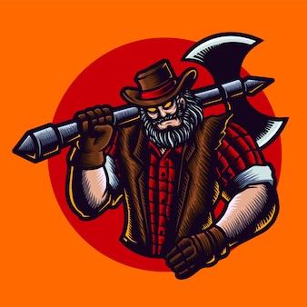 Illustratie van een houthakker cowboy met bijl, hoed, jas.