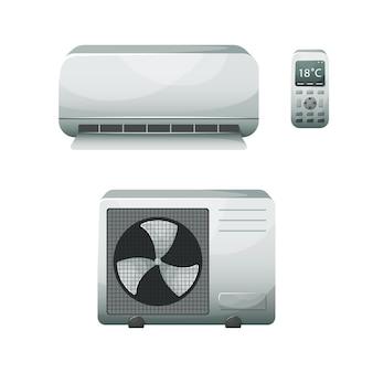 Illustratie van een huishoudelijke airconditioner.