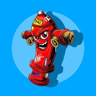 Illustratie van een hydrantkarakter dat een hiphopzanger wordt