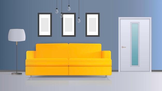 Illustratie van een interieur. gele bank, witte deur, vloerlamp met witte lampenkap, witte plafondlamp. realistisch interieur.