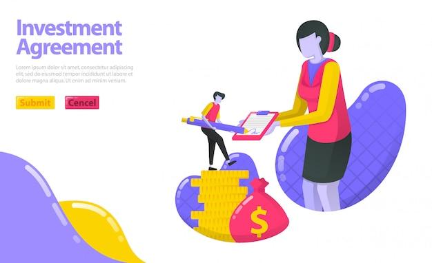 Illustratie van een investeringsovereenkomst. persoon die de overeenkomst met de vermogensbeheerder heeft ondertekend. investeer in geld en activa.