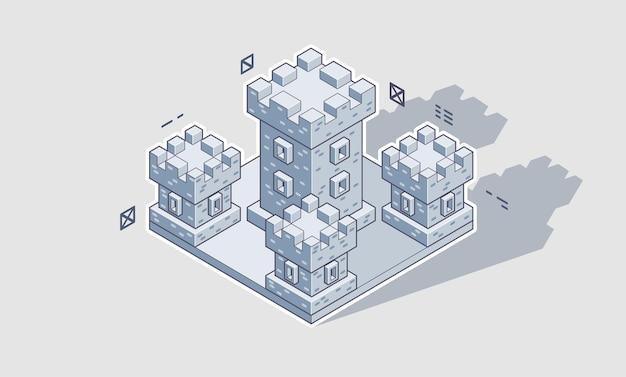 Illustratie van een isometrisch middeleeuws kasteel