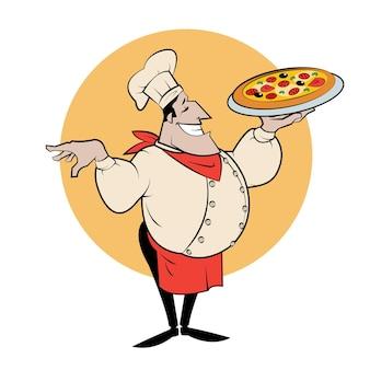 Illustratie van een italiaanse cartoonchef met een versgebakken pizza