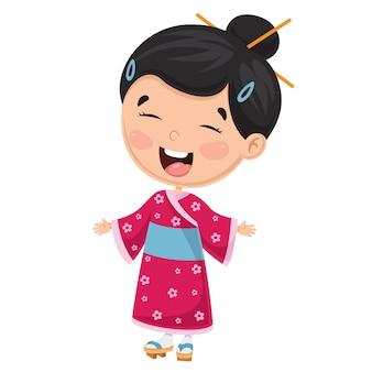 Illustratie van een japans kind