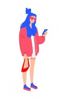Illustratie van een jong meisje in een rode jas. Premium Vector
