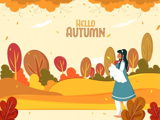 Illustratie van een jong meisje permanent op kleurrijke natuur achtergrond voor hallo herfst.