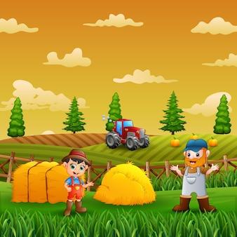 Illustratie van een jonge boer die in een landbouwgrond werkt