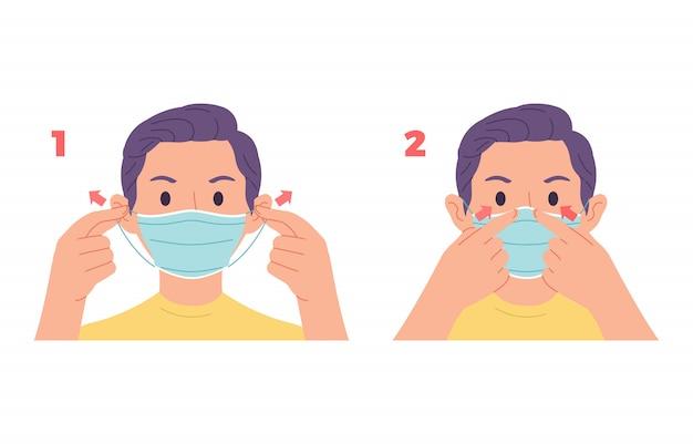 Illustratie van een jonge man die een voorbeeld geeft van het dragen van een correct gezichtsmasker