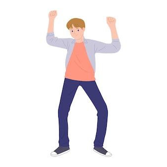 Illustratie van een jonge man gelukkig dansen