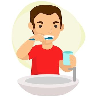 Illustratie van een jonge man zijn tanden poetsen in de badkamer in de ochtend