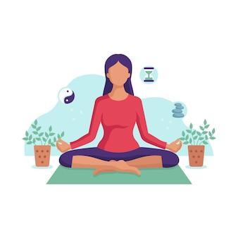 Illustratie van een jonge vrouw mediteren