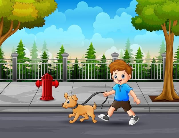 Illustratie van een jongen met een hond die langs de straat loopt