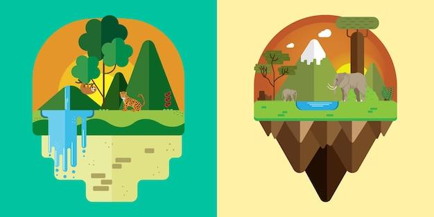Illustratie van een jungle en een afrikaans landschap