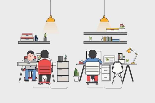 Illustratie van een kantoor en kantoorpersoneel