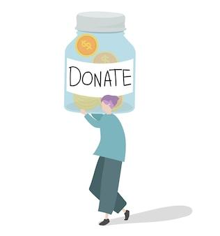 Illustratie van een karakter die geld schenkt