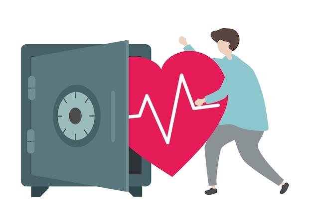 Illustratie van een karakter en een gezondheidszorgconcept