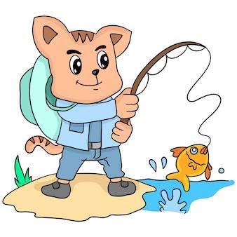 Illustratie van een kat die aan het vissen is. cartoon illustratie leuke sticker