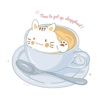 Illustratie van een kat in koffiekopje, vectorillustratie