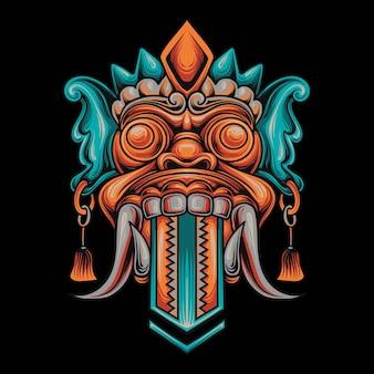 Illustratie van een kitsune-masker en schedel in een mecha-stijl