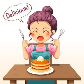Illustratie van een klein jong meisje dat pannenkoeken eet